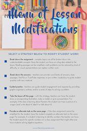 Menu of Lesson Modifications