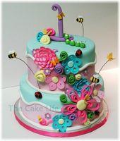 Blumen- und Käfergeburtstagstorte   – Cakes and Cupcakes for Kids birthday party
