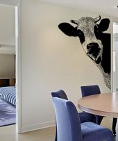 Peeking Cow Wall Decal Sticker For Your Kitchen 5476 Cow Decor Wall Mural Decals Cow Kitchen Decor