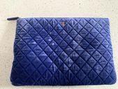 Chanel Navy Blue Velvet Clutch