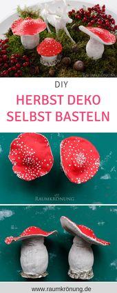 DIY Herbst Deko selbst basteln, Pilz Deko, wohnzim…