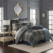 Jonet Indigo 4-Piece Reversible Comforter Set by Waterford
