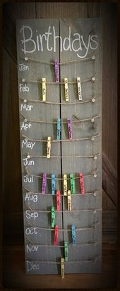 Birthday calendar board wall hanging with colored clothespins – Hand painted, NO VINYL! – Today Pin