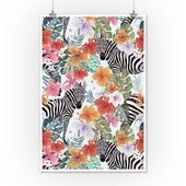 Zebras und Blumen – Nahtloses Vektormuster (Kunstdrucke, Holz- & Metallschilder, Leinwand, Tragetasche, Towe   – Products