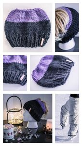 messy bun ponytail hat hat for women / knit winter chunky hood / black and purple / trendy / chic / hipste- * loving …