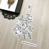 Dotwork Deathly Hallow flowers tattoo design – included in my mega Harry Potter design collection! Info and download: www.rawaf.shop/tattoo/collection…