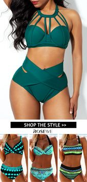 Free Shipping & Easy Return High Waist Cross Front Strappy Neck Bikini Set