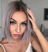 Glitzernde Augen mit silbernem Haar –  – #Kurzhaarfrisuren –  – #Kurzhaarfrisuren