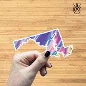 Maryland Trippy State Outline Vinyl Sticker, Travel, Laptop Decals, Stickers, Macbook Decal, Sticker