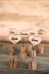 25 hölzerne Hochzeit Tischkarten, Holz zu begleiten, rustikalen Tisch Platz-Karte, Karte, Hochzeitsgeschenk für Gäste, hölzerne Hochzeit Tischkarten, Herzen aus Holz