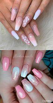Wunderschöne rosa und weiße Ombre-Nägel mit Glitzerideen! #coffinnails #pinkandwhi