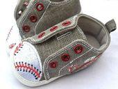 Gray New baby boy baseball crib walking shoes 2 3