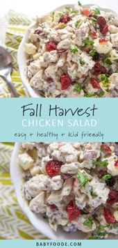 This healthy harvest chicken salad is full of chicken cubes, apples, pecans and … …  – Salat Rezepte