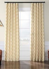 Exclusive Fabrics & Furnishings Beatrice Flocked Faux Silk Curtain – Beige – 50 In X 108 In