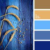 Die Farbpalette Nummer 944 Beige, Blau und Blau, Braun und Blau, Königsblau, Tiefblau, Weizen, Braun, Hellbraun, Blau-Violett, warme und kühle Farbe…