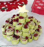 Low Carb Christmas Tree Platter – with low carb wraps, deli turkey, cream cheese…