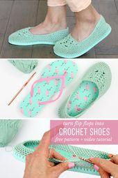 Zapatos de ganchillo con suelas flip flop   – Hausschuhe und Socken