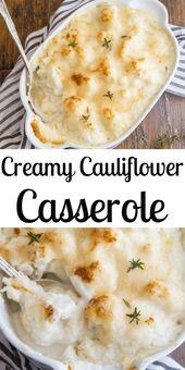 Dieser Blumenkohl-Auflauf wird in einer weißen Sauce mit Parmesankäse überbacken. A fas …   – cauliflower