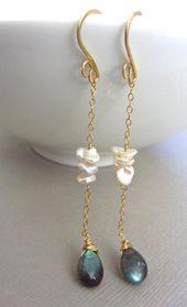 Perle Labradorit Ohrringe, Hochzeit Schmuck, 14 Karat Gold, Draht gewickelt, lange baumeln …   – jewelry (to make)