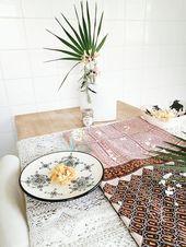 Tablecloth, handblock printed silk curtain