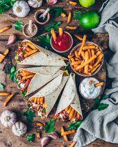 Vegan Gyros Wraps with crispy fries