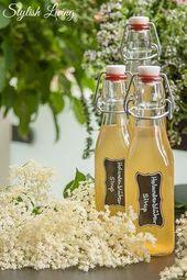 Selbst gemachter Holunderblütensirup ohne Zitronensäure   – Rezepte querbeet