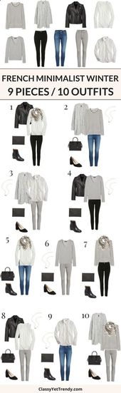 Combine jewelry with clothing – 9 pieces / 10 outfits (French Minimalist Winter …