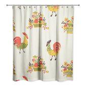 Red Barrel Studio Hamil Rooster Single Shower Curtain Color Beige