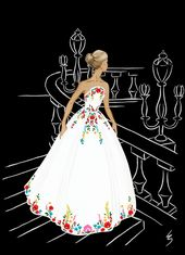16842ce161db4ac076fe91f8e258a73b  white evening gowns fashion drawings - Maybe I just have a thing for colourful embroidery, but I find Hungarian kaloscai embroidery especia...
