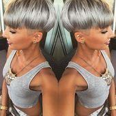 Graues Haar #grauhaar #grau #silberhaar #haarschnitt #frisur #haarfarbe #pixie #pi …, #diyhai …