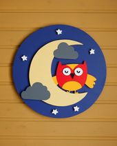 "18"" Sweet Dreams Circle, Wood Wall Decor Wood Art Baby Room Kids Room Owl"