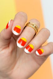 Candy Corn Nails For Halloween – Tutorial