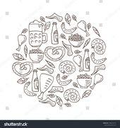 Oktoberfest food, bavarian pretzel and sausages, beer mug and bottle, chicken gr…