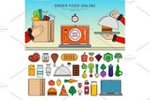 Order meals on-line Graphics Skinny line flat design of various meals. Icons for or…