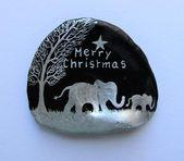 Photo of Elefant Weihnachtsgeschenk, handbemalte Muschel, einzigartige Kunst Magnet, Elefant Frohe Weihnachten Gemälde,
