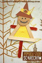 #gluedtomycrafts Craft Stick Vogelscheuche Puppe Friend – Kid Craft – Autumn Art