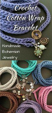 Beautiful cotton wrap bracelet. Beautiful handmade jewelry with …