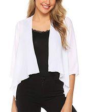 2bd542552293e Gilet court femme cardigan gilet Basic blazer boléro veste de soiree chic  Gilet noir blanc femme Manches Longues en mousseline veste coton tr…