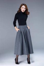 1950s skirt, wool skirt, winter skirt, vintage skirt, warm skirt, winter skirt, maxi skirt, skirt with pockets, custom skirt for women 1857# – Hairstyles