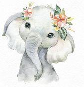 Kunst – Afrika Zebra Elefant Löwe Aquarell kleine Tiere Clipart, Babys Porträt Simba Cub Kranz Blumen, Kinder süß, Kinderzimmer Kunst, Babyshower