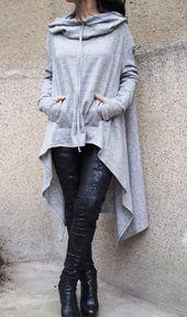Grauer Maxipullover / extravagante handgemachte Bluse / lose Strickwaren / Kapuzenpullover / Hoodie / Poncho / asymmetrischer Pullover / Bluse in entspannter Form / F1568 – Mode