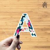 "Letter ""A"" Tropical Vinyl Sticker, Best Friend Gift, Laptop Decals, Name Stickers, Monogram, Macbook"