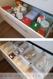 #ikea ikeakartal.com Organisierte Küchenschublade mit Ikea-Trockenfutterbehältern #organized #kitchen #org