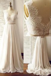 V-back A-line Lace/Chiffon Beach Wedding Dress Fashion Custom Made Bridal Dress YDW0006