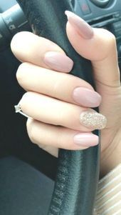 Nails Cute Simple Nails Gold Glitter Nails Pale Pink Nails