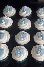 Baby feet cupcake toppers- fondant boy or girl – baby shower