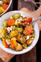 Ofenkartoffeln mit Kürbis, Rosenkohl und Feta – Kochrezepte