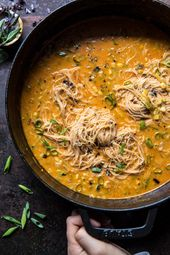 Saucy Coconut Curry with Rice Noodles and Backyard Greens.