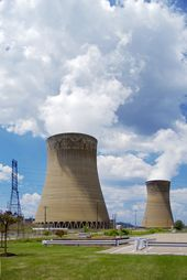 Nuclear Power Plant A Pair Of Nuclear Power Plant Cooling Towers