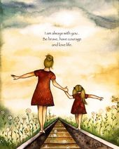 """gift for mom, wall art decor, love, artwork, gift for daughter, Blonde Mother and daughter """"our path"""" art print with quote"""